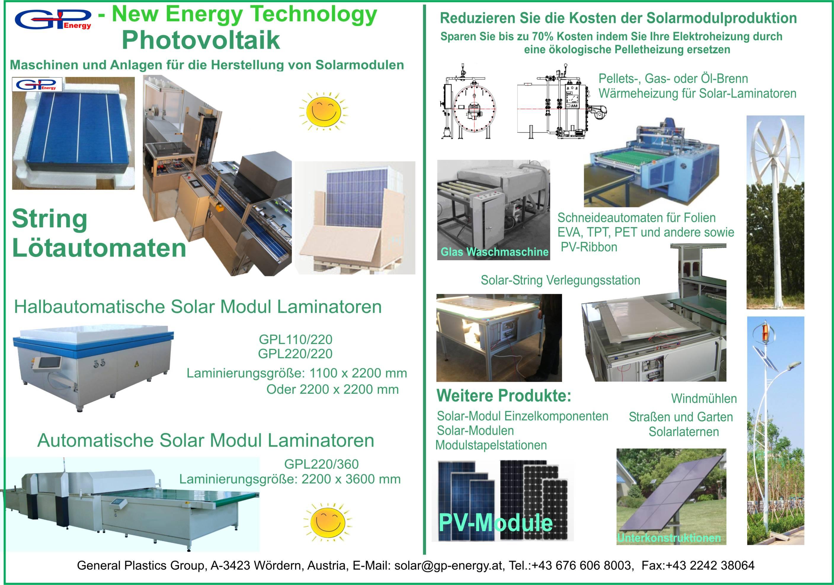 Maschinen zur Herstellung von Solaranlagen